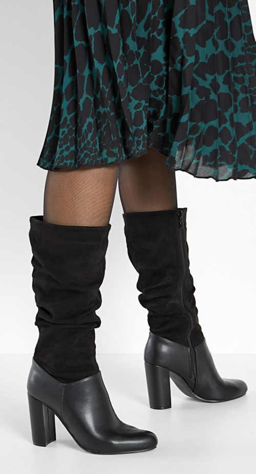 Čierne dámske čižmy pre široké lýtko