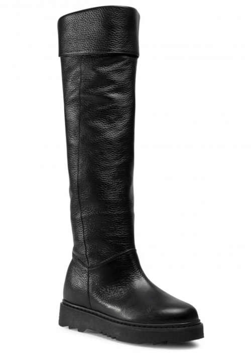 Čierne štýlové vysoké čižmy bez podpätku