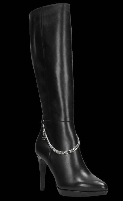 Čierne vysoké kožené čižmy