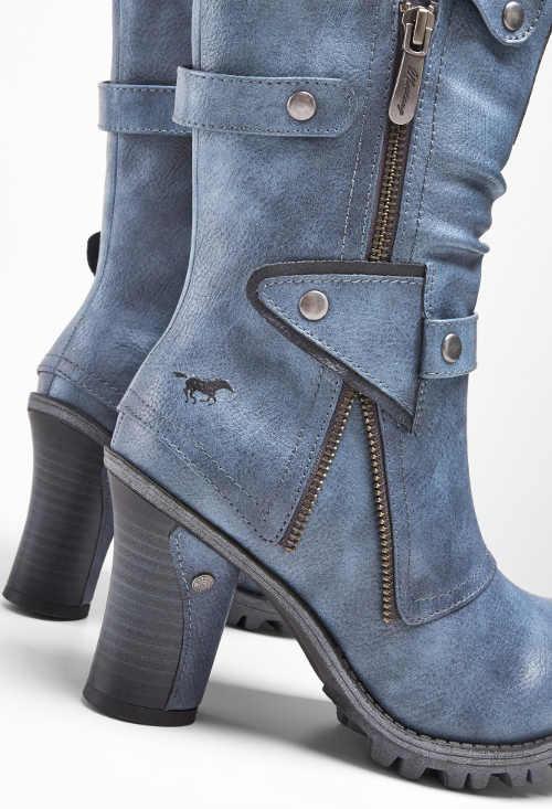 Modré džínsové čižmy na vysokom podpätku