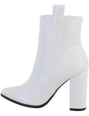 Dámske biele štýlové topánky na podpätku