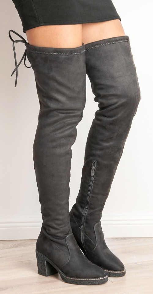 Extra vysoké zimné topánky s mini sukňou