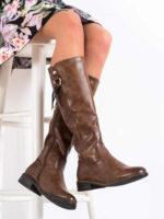 Hnedé vysoké topánky so zipsom