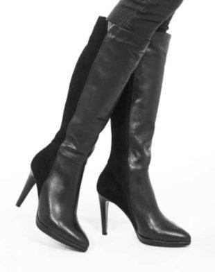 Kožené dámske topánky na vysokom podpätku