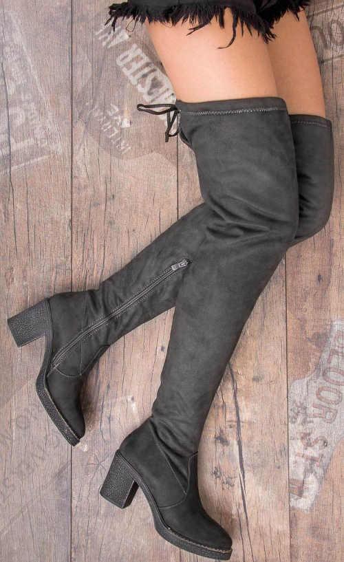 Stretch šedé vysoké topánky so šnurovaním