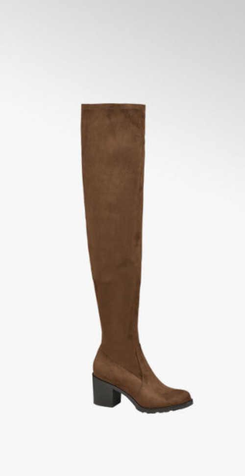Štýlové topánky nad kolená s podpätkami