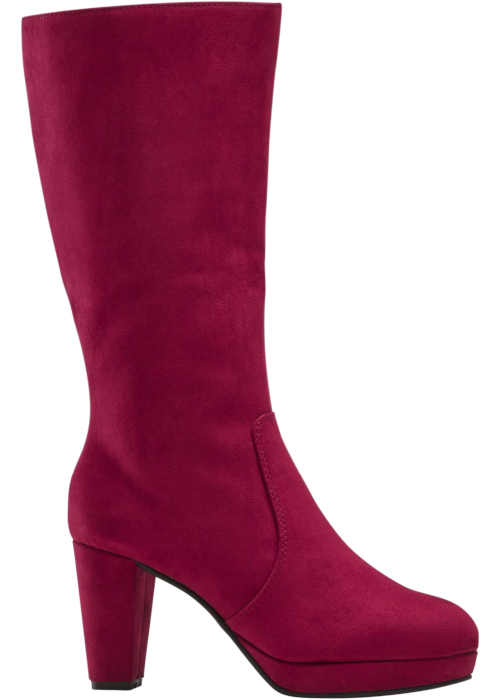 Textilné topánky na podpätku vo vínovej farbe