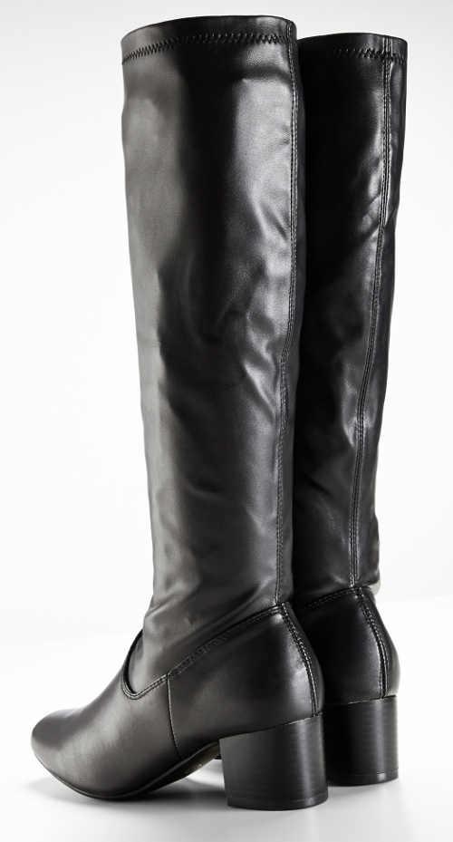 Vysoké čierne lesklé dámske čižmy Bonprix