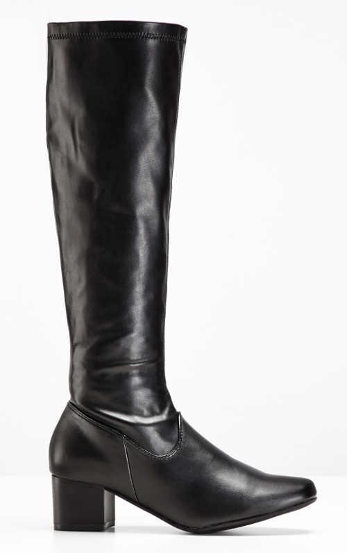 Vysoké lesklé čierne čižmy na širokom podpätku