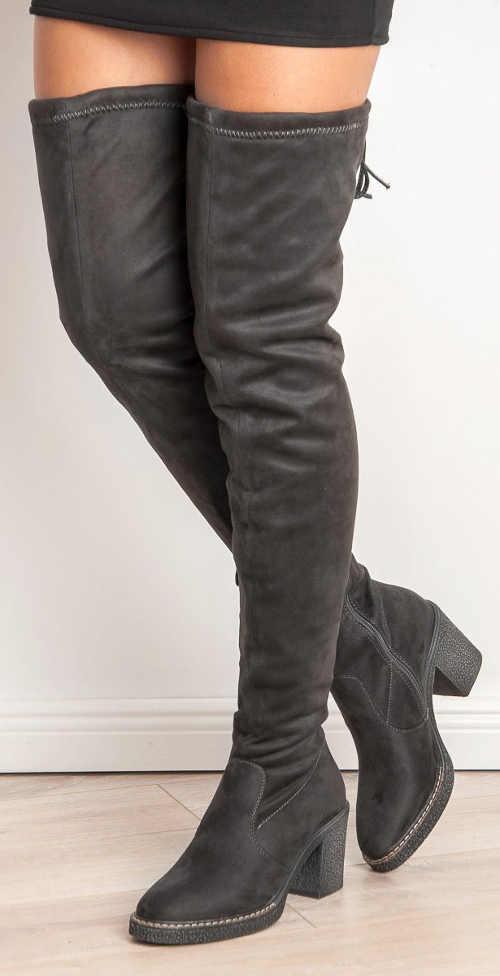 Vysoké sivé semišové dámske čižmy
