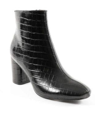 Čierne nízke čižmy s krokodílím vzorom
