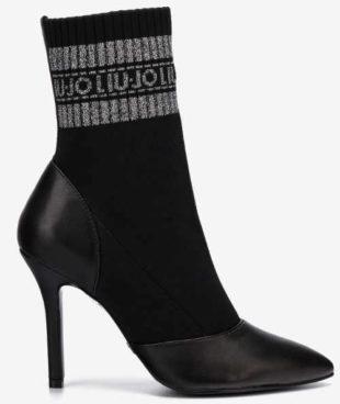 Čierne ponožkové dámske topánky na vysokom podpätku