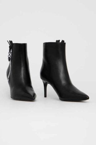 Kožené členkové topánky s ihlovým podpätkom