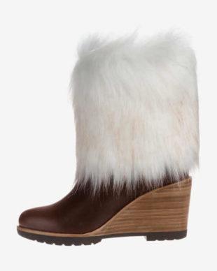 Kožené topánky na klinoch s umelou kožušinou