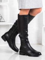 Lacné čierne členkové topánky s remienkami