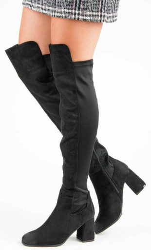 Lacné čierne dámske vysoké topánky nad kolená