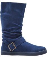 Modré zimné topánky Bonprix s ozdobným remienkom na členku
