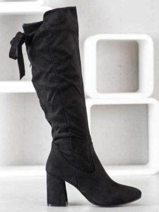 Štýlové dámske vysoké topánky so zipsom