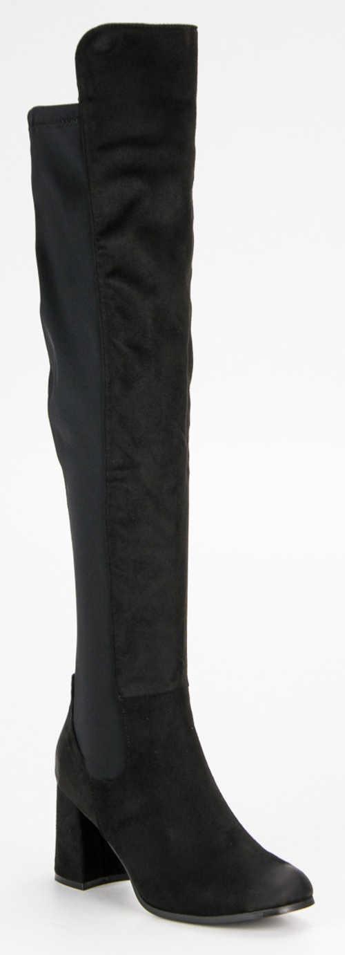Vysoké semišové čierne čižmy nad kolená