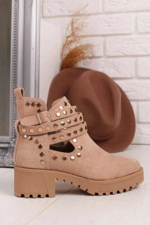 Dámske semišové béžové členkové topánky