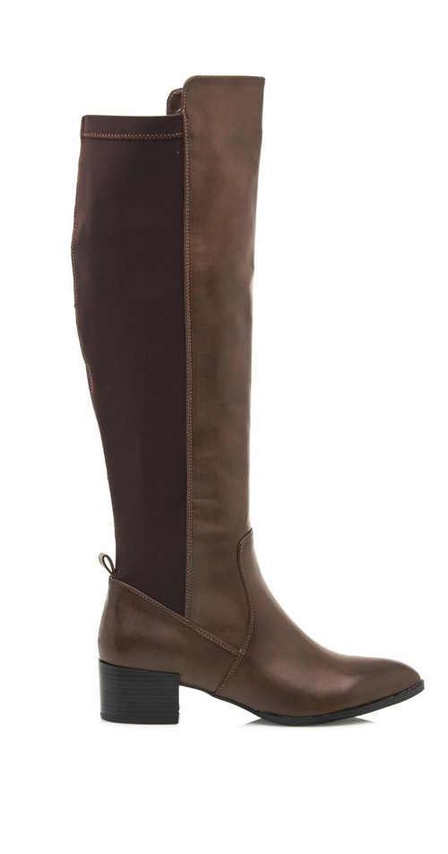 Hnedé vysoké elastické čižmy