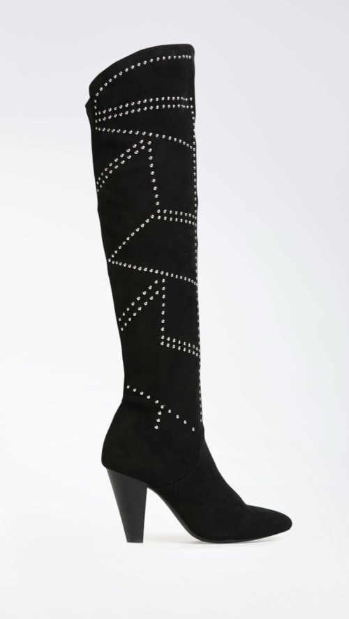 Moderné vysoké topánky v čiernej a striebornej farbe