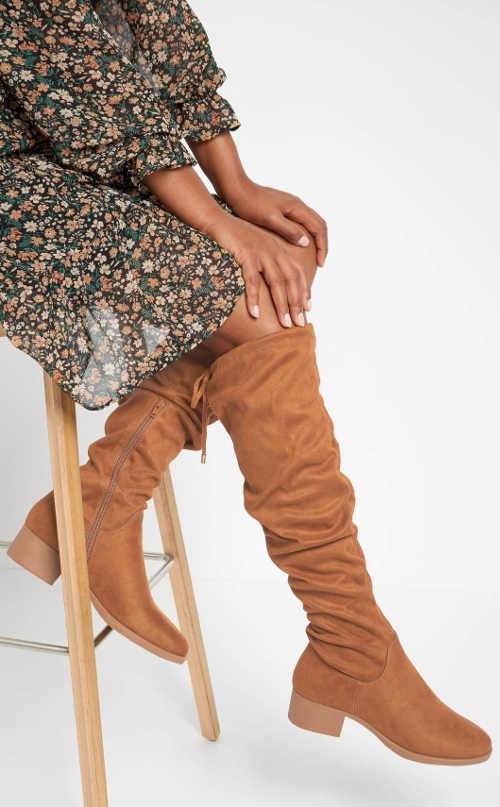 Svetlo hnedé dámske vysoké topánky Orsay z eko-semišu