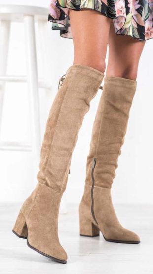 Béžové semišové šnurovacie topánky nad kolená