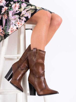 Kovbojské topánky v hnedej farbe