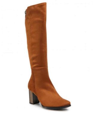 Módne vysoké hnedé dámske topánky
